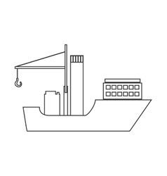 silhouette boat cargo with crane vector image
