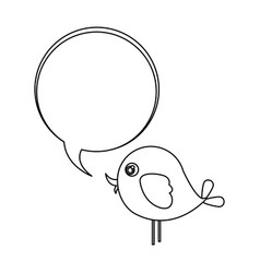 silhouette cute cartoon bird animal icon with vector image