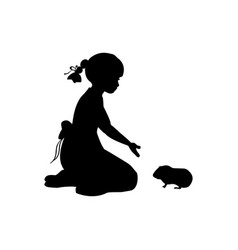 silhouette girl sitting knees beckon guinea pig vector image