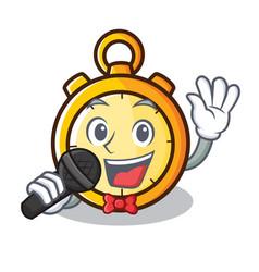 Singing chronometer character cartoon style vector