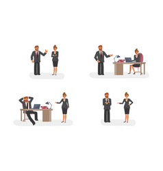 smart businessman and woman character creation set vector image