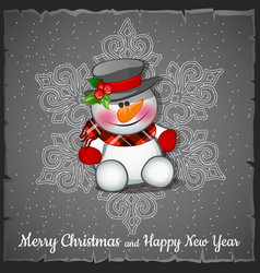 snowman on background gray snowflakes vector image