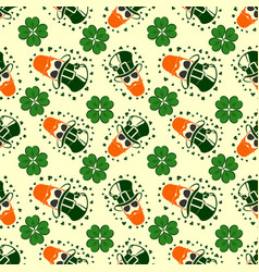 st patricks day seamless pattern with leprechaun vector image