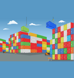 Stack of colorful cargo containers with vector
