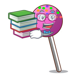 Student with book lollipop with sprinkles mascot vector