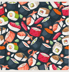 sushi isolated icons in seamless pattern vector image