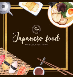 Sushi set for decoration creative watercolor vector