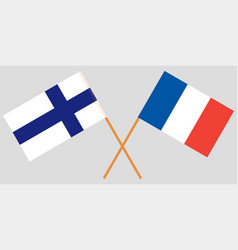 the crossed france and finland flags vector image