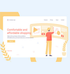The man chooses goods in online store vector
