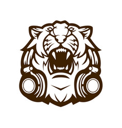 tiger with headphones vector image