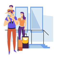 tourism family waiting for flight departure or vector image