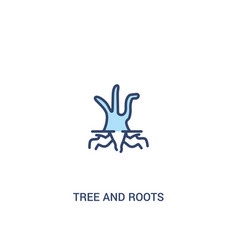 Tree and roots concept 2 colored icon simple line vector