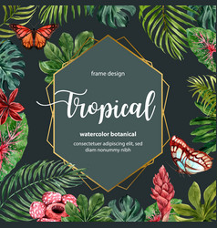 Tropical-themed border frame design with leaves vector