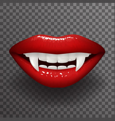 Vampire tooth stylish woman lips slightly open vector