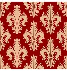 Victorian seamless fleur-de-lis red pattern vector