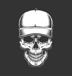 Vintage skull head in baseball cap vector