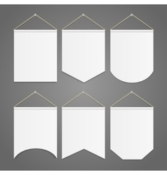 White Pennant Template Hanging on Wall Set vector