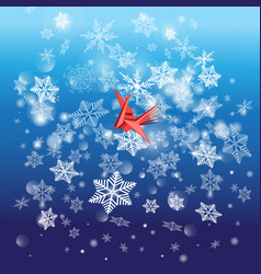 winter bright background with snowflakes and a vector image