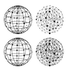Wireframe sphere with dots set vector