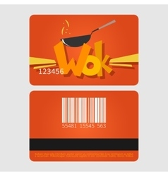 Wok restaurant Template loyalty card design Flat vector