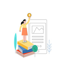 Woman standing at book pile golden coin vector