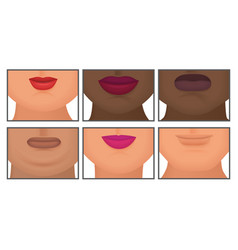 Woman with realistic double fat chin set vector