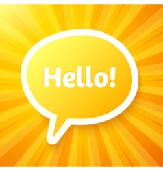 Yellow speech bubble with sign Hello vector image