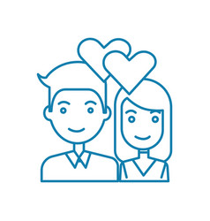 young couple linear icon concept young couple vector image