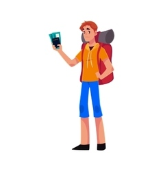 Young traveler backpacker hitchhiker holding vector