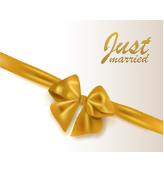 abstract wedding background gold bow with ribbon vector image