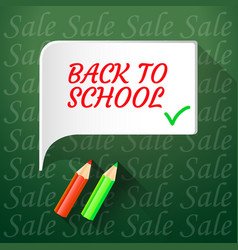 back to school sale banner on green background vector image