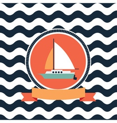 Card at sea sailing yacht vector