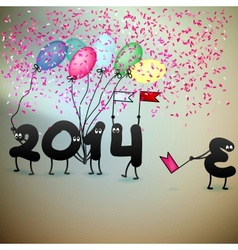 Funny 2014 New Years Eve greeting card vector image