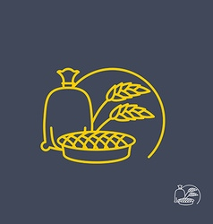 Sack of flour and cherry pie Logo for bakeries vector image vector image