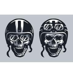 Skull biker in helmet and glasses vector image vector image