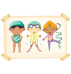 A frame with three sporty kids vector