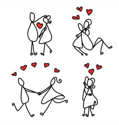 cartoon character happy lovers vector image
