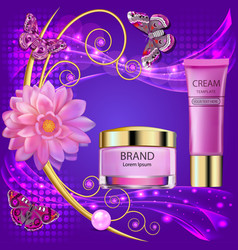 cosmetic background with cream flower and vector image vector image