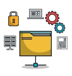 data base folder file archive work isolated vector image vector image