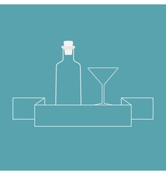 Martini glass bottle and ribbon contour vector image vector image