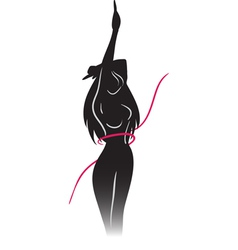 Silhouette of slender girl and ribbon vector image vector image