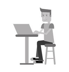 young man sitting working computer monochromatic vector image