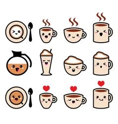 Cute coffee cappuccino and espresso kawaii icon vector image vector image
