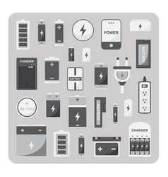 flat icons different battery set vector image vector image