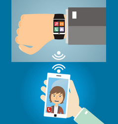 Hands with smart phone and smart wristwatch vector