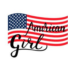 inscription brush american girl vector image vector image