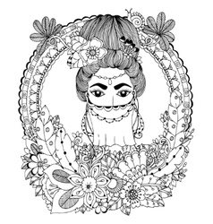 Doodle drawing Oriental woman vector image