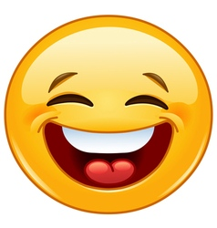 laughing with closed eyes emoticon vector image