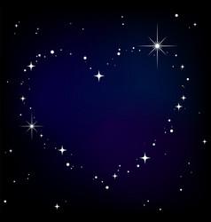 star heart in night sky vector image vector image