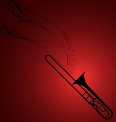 Trombone with Musical Symbols vector image vector image